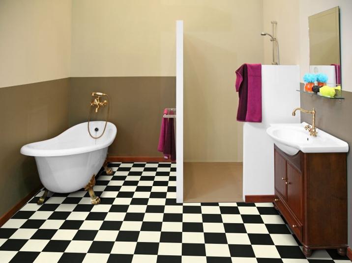 sol pvc best motif carrelage damier blanc noir. Black Bedroom Furniture Sets. Home Design Ideas