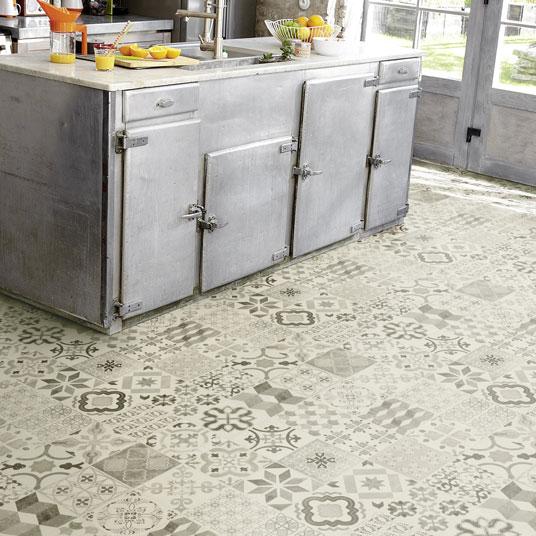 Sol pvc lino imitation carreaux de ciment noir larg 4m - Lino imitation carreaux ciment ...