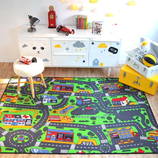 Tapis circuit voiture ville 145x200 cm for Tapis pour chambre enfant
