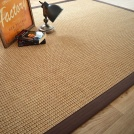 Visuel - Tapis Samoa naturel ganse coton marron