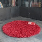 Tapis rond Softy Shaggy - Rouge