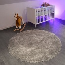 Tapis rond Sweety Shaggy - Argent - Ø 150 cm