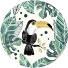 Visuel - Tapis rond en vinyle - Jungle toucan