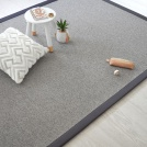 Tapis pure laine Carnelly gris ganse coton anthracite