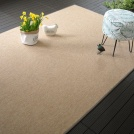 Tapis Mahé naturel galon synthétique marron