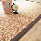 Tapis tissé plat Java Chevron nature ganse coton marron