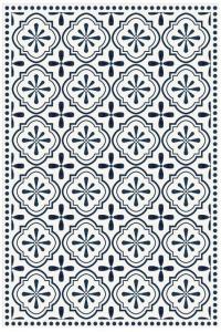Tapis Vinyle Carreaux De Ciment Etoile Anna Bleu 49 5 X 83 Cm