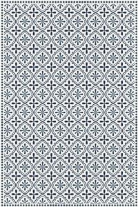 Tapis Vinyle Carreaux De Ciment Etoile Anna Bleu
