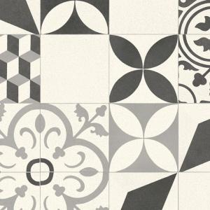 Sol Vinyle Style - Carreaux de ciment Floral et 3D - Noir et blanc cassé -  Larg. 2m