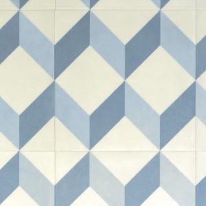 Déstockage Sol Lino Carreaux De Ciment Cube 3d Bleu