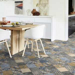 2 x 6m Carreaux Art D/éco Sol PVC Best Terre de Sienne et Bleu Gris