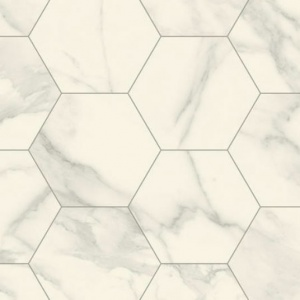 Sol Lino Imitation Carrelage Hexagonal Blanc Marbre Tarkett