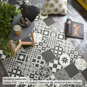 Dalle Sol Pvc Clipsable Mix And Match Click 5g Carreaux De Ciment