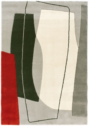 Tapis de salon design - Seventies - Formes rouges et grises