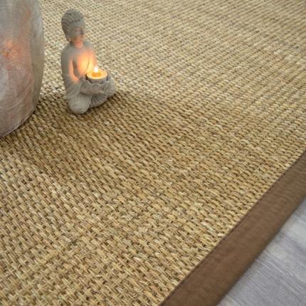 tapis jonc de montagne suva panama ganse coton brun 140 x 200 cm. Black Bedroom Furniture Sets. Home Design Ideas