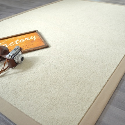 Tapis Manège blanc coquille ganse coton grège