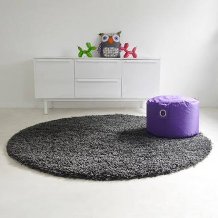 tapis rond softy shaggy gris 95 cm. Black Bedroom Furniture Sets. Home Design Ideas