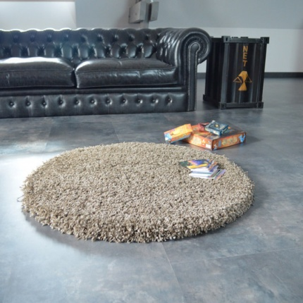 tapis rond sweety shaggy taupe 150 cm. Black Bedroom Furniture Sets. Home Design Ideas