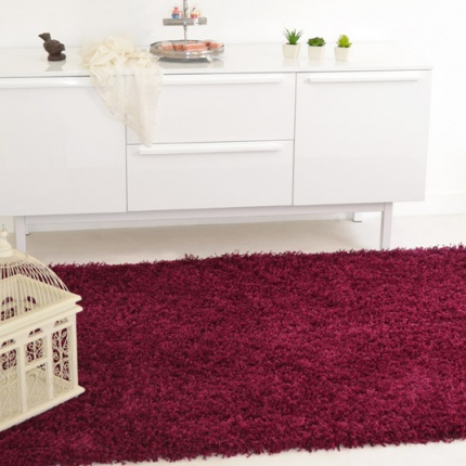 Déstockage Tapis Softy Shaggy - Prune