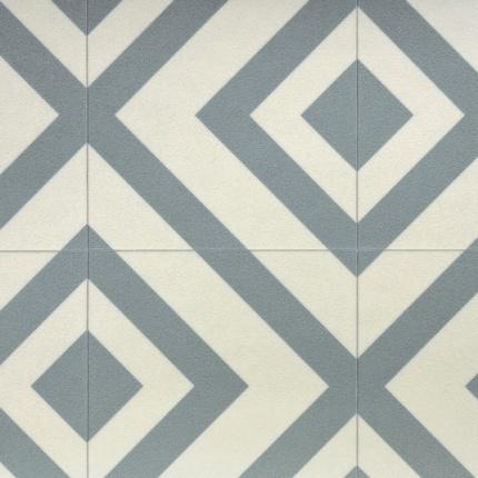 Sol vinyle imitation carrelage losange gris bleut for Carrelage losange