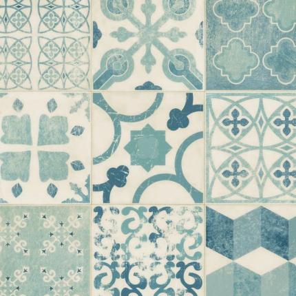 chute de sol pvc lino imitation carreaux de ciment bleu. Black Bedroom Furniture Sets. Home Design Ideas