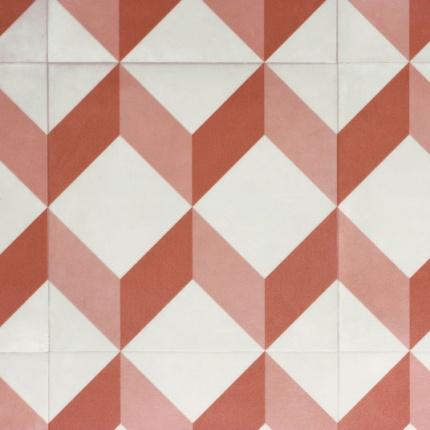 sol lino carreaux de ciment cube 3d rouge sol pvc. Black Bedroom Furniture Sets. Home Design Ideas