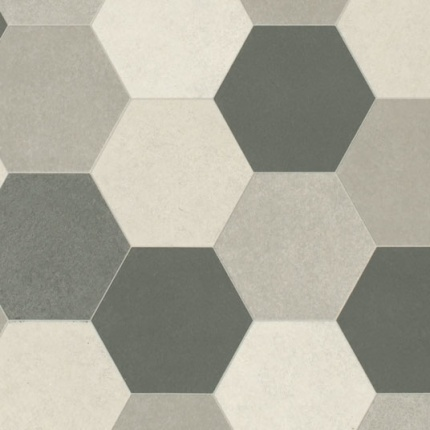 sol vinyle lino tendance imitation carrelage hexagonal gris larg 4m. Black Bedroom Furniture Sets. Home Design Ideas
