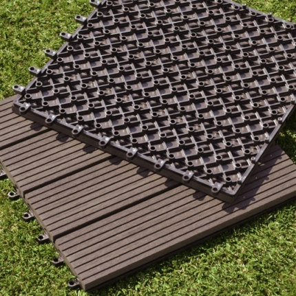 Dalle terrasse composite clipsable chocolat 30 x 30 cm dalles terrasse - Dalle composite clipsable ...