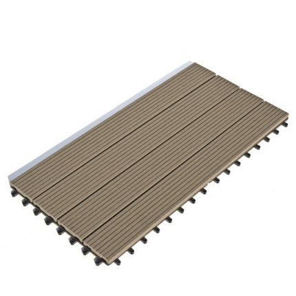 Dalle terrasse composite clipsable chocolat 30 x 60 cm - Dalle composite clipsable ...