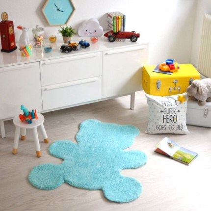 Tapis Enfant Nattiot - Ourson Little Teddy bleu - 80x100 cm