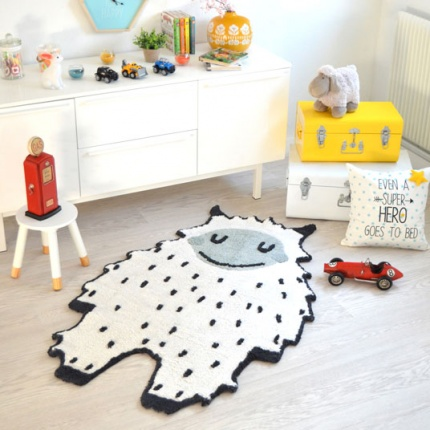 Tapis Enfant Nattiot - Yéti Little Bigfoot noir & blanc - 90x140 cm