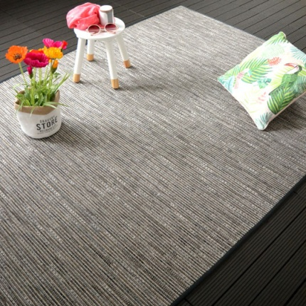Tapis tissé plat Bornéo Silver - Galon synthétique Anthracite