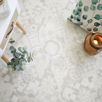 Dalle sol PVC Clipsable Mix and Match - Click 5G - Carreaux de ciment beige clair