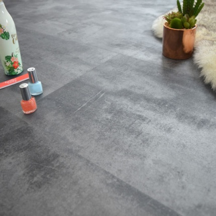 dalle sol pvc click plat imitation b ton gris m tallis stone 40995. Black Bedroom Furniture Sets. Home Design Ideas