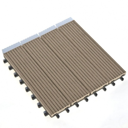 Dalle terrasse composite clipsable chocolat 30 x 30 cm - Dalle composite clipsable ...