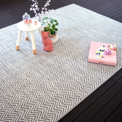 Tapis tissé plat Java Blanc - Galon Synthétique Gris
