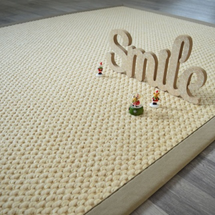 tapis laine et sisal ecru ganse coton limon 140 x 200 cm. Black Bedroom Furniture Sets. Home Design Ideas