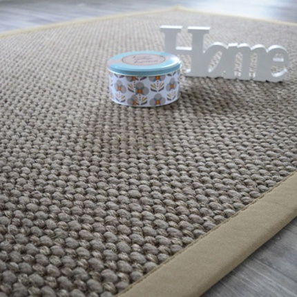 tapis laine et sisal albury taupe ganse coton limon. Black Bedroom Furniture Sets. Home Design Ideas