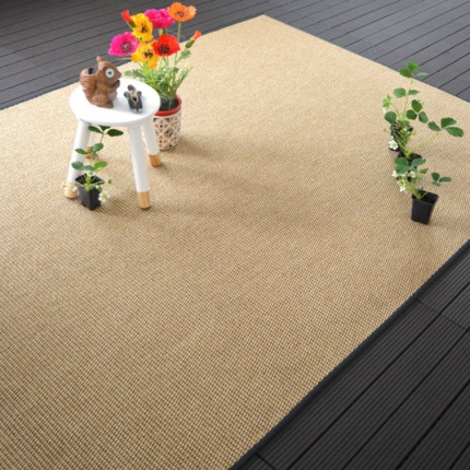 Tapis tissé plat Lombok naturel galon synthétique anthracite