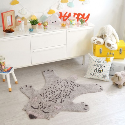 Tapis Enfant Nattiot - Renard Little Fox gris - 100x120 cm
