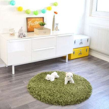 Déstockage Tapis rond Softy Shaggy Vert