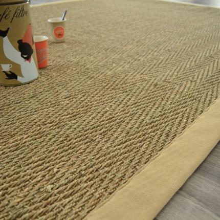 tapis jonc de mer bihar fin chevron ganse coton beige 140 x 200 cm. Black Bedroom Furniture Sets. Home Design Ideas