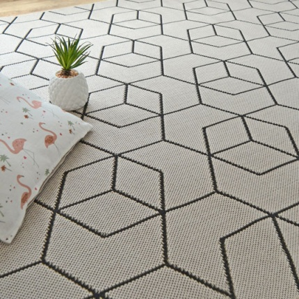 Tapis Graphique Essenza - Beige - Cubes 3D