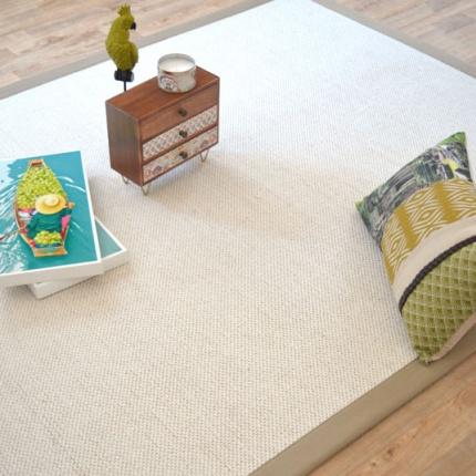 tapis laine et jute natt cru ganse coton limon. Black Bedroom Furniture Sets. Home Design Ideas