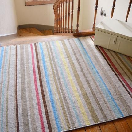 Tapis kerala en laine ray beige rouge 120 x 170 cm for Tapis raye noir beige